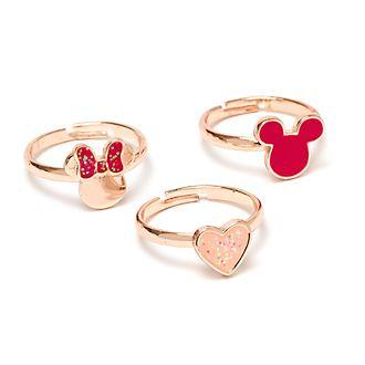 Anillos bañados en oro rosa Mickey y Minnie, Disney Store (3u.)