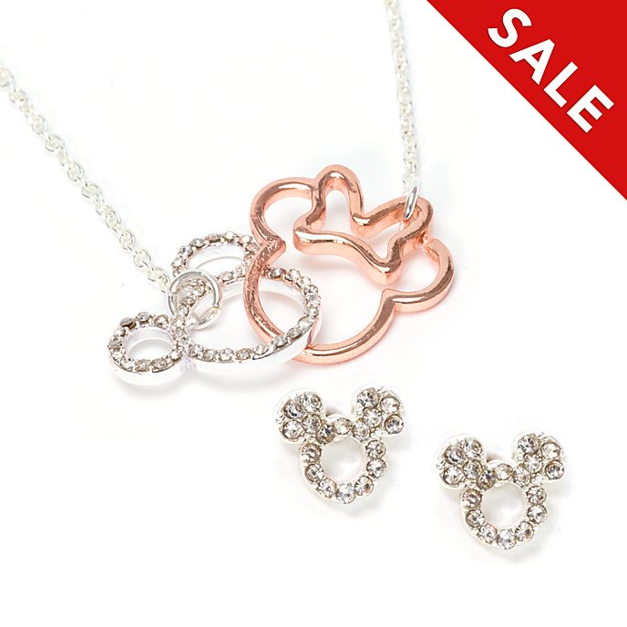 Disney Store Mickey and Minnie Silver and Rose-Gold Plated Jewellery Set