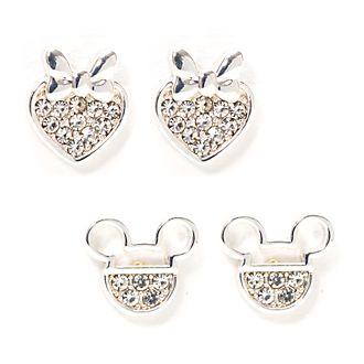 Pendientes botón bañados en plata Mickey y Minnie, Disney Store (2u.)