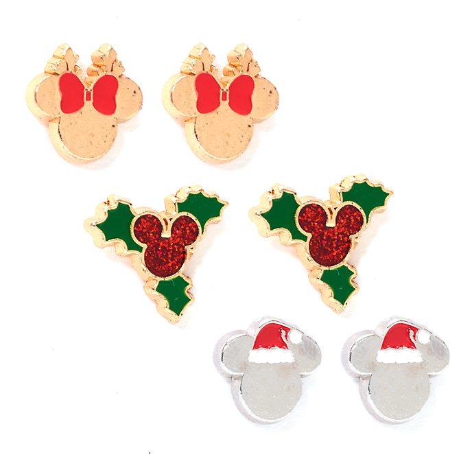 Pendientes botón Mickey y Minnie, Holiday Cheer, Disney Store (3u.)