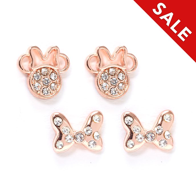 Disney Store Minnie Mouse Rose Gold-Plated Stud Earrings, Set of 2