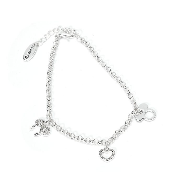 Disney Store Mickey and Minnie Silver-Plated Charm Bracelet