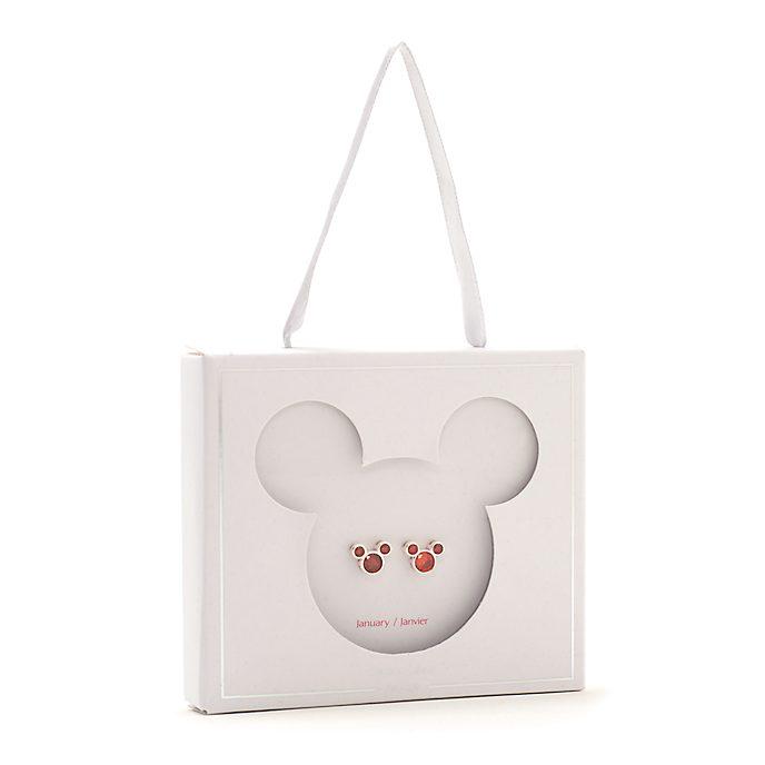 Pendientes de botón piedra natalicia, enero, Mickey Mouse, Disney Store