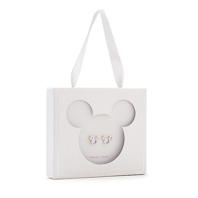 Disney Store Mickey Mouse February Birthstone Stud Earrings