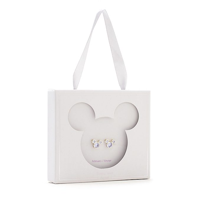 Pendientes de botón piedra natalicia, febrero, Mickey Mouse, Disney Store