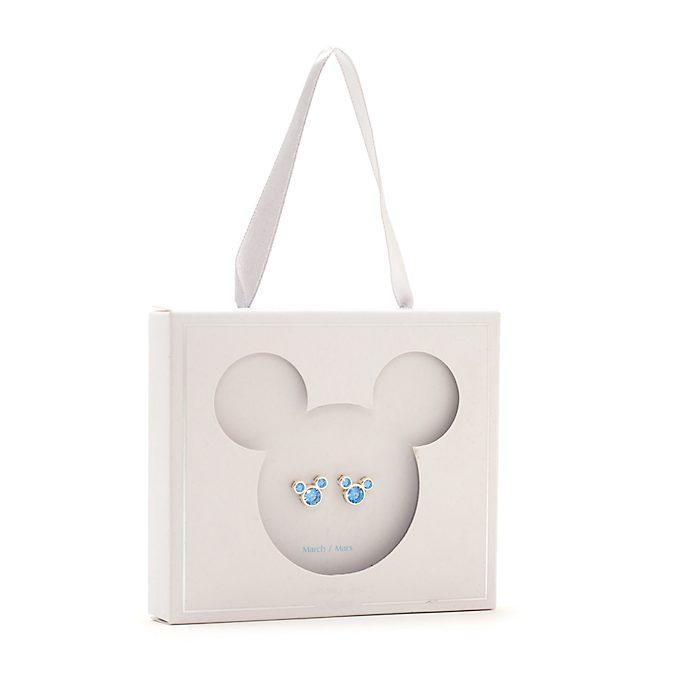 Pendientes de botón piedra natalicia, marzo, Mickey Mouse, Disney Store