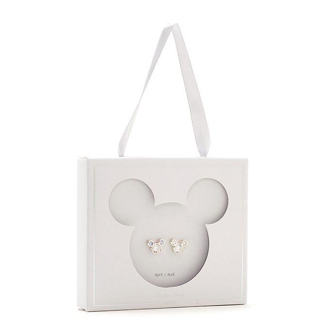 Orecchini a bottone con pietra del mese di aprile Topolino Disney Store