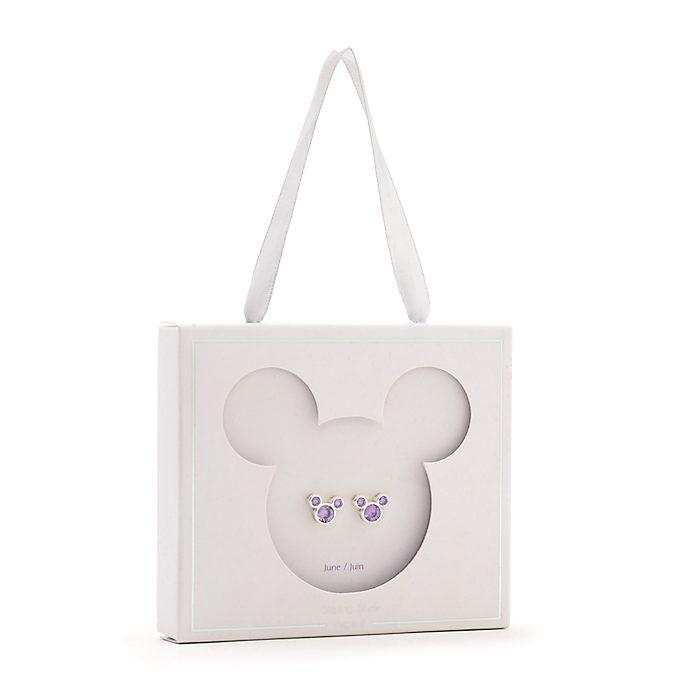 Orecchini a bottone con pietra del mese di giugno Topolino Disney Store