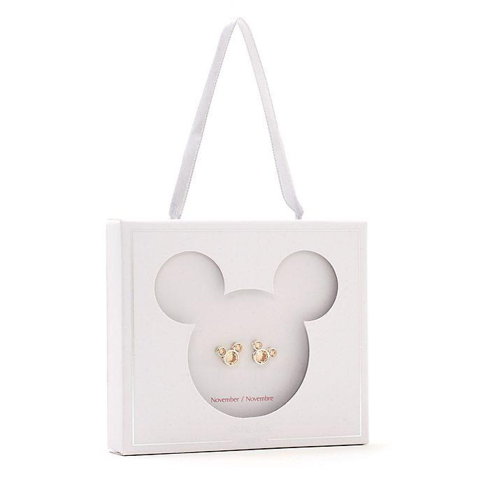 Pendientes de botón piedra natalicia, noviembre, Mickey Mouse, Disney Store