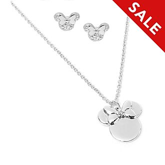 Disney Store Positively Minnie Necklace and Earrings Set
