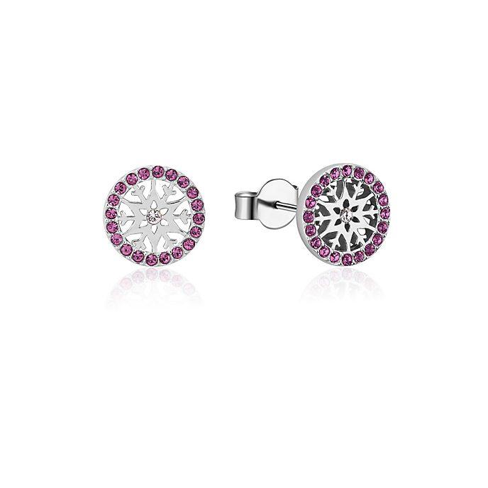 Pendientes de botón de piedra natal, febrero, Frozen2, Couture Kingdom