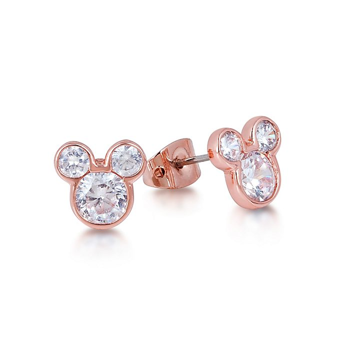 Couture Kingdom Rose Gold-Plated Earrings, Mickey Mouse