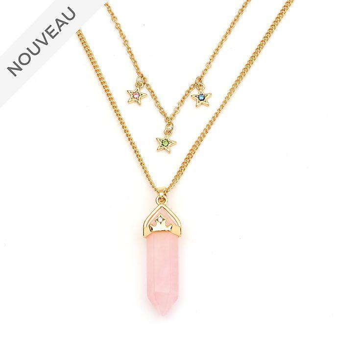 Disney Store Collier Aurore en quartz rose pour adultes, La Belle au Bois Dormant