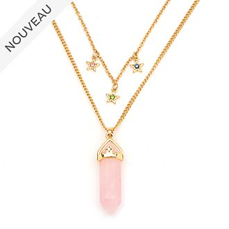 Disney Store Collier Aurore en quartz rose pour adultes, La Belle au Bois Dormant