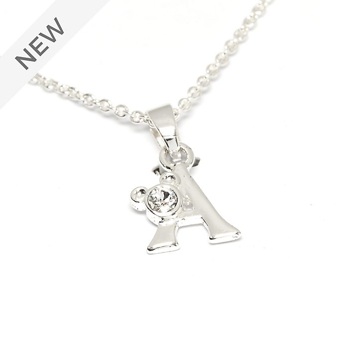 Disney Store Mickey Mouse 'A' Silver-Plated Initial Necklace