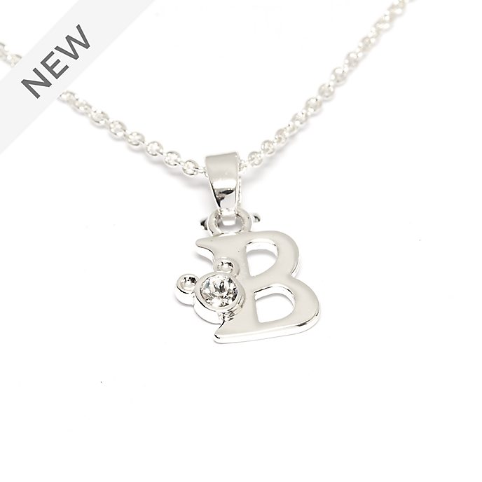 Disney Store Mickey Mouse 'B' Silver-Plated Initial Necklace