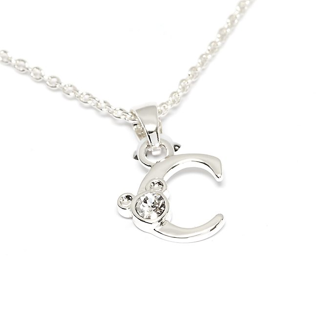 Disney Store Mickey Mouse 'C' Silver-Plated Initial Necklace