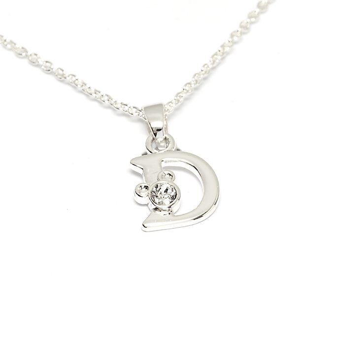 Disney Store Mickey Mouse 'D' Silver-Plated Initial Necklace
