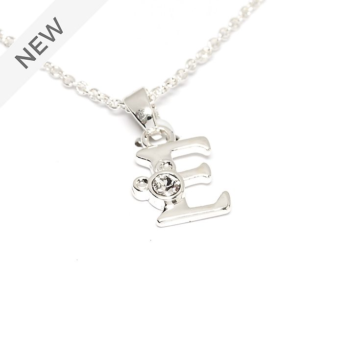 Disney Store Mickey Mouse 'E' Silver-Plated Initial Necklace