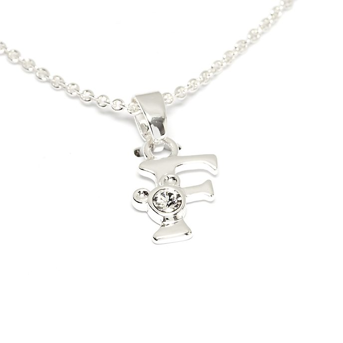 Disney Store Mickey Mouse 'F' Silver-Plated Initial Necklace