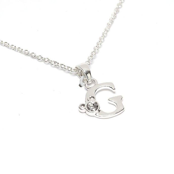 Disney Store Mickey Mouse 'G' Silver-Plated Initial Necklace
