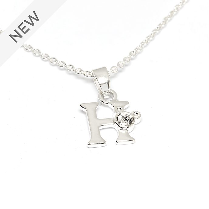 Disney Store Mickey Mouse 'H' Silver-Plated Initial Necklace