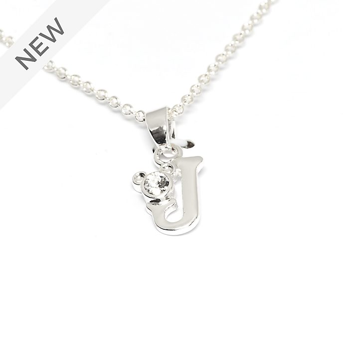 Disney Store Mickey Mouse 'J' Silver-Plated Initial Necklace