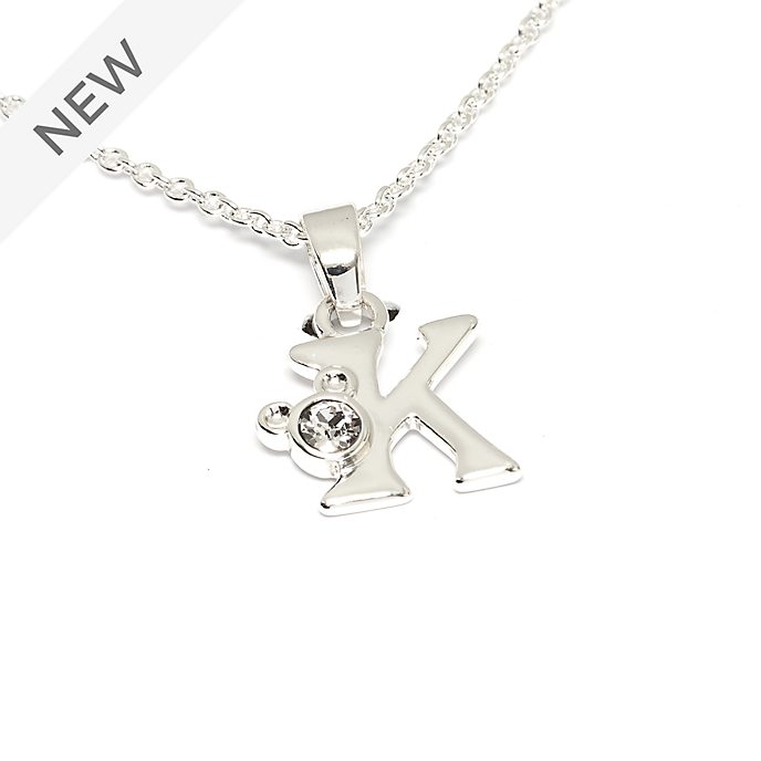 Disney Store Mickey Mouse 'K' Silver-Plated Initial Necklace