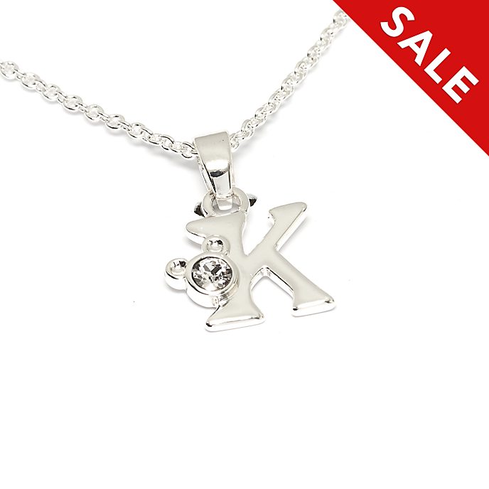 Disney Store Mickey Mouse 'K' Initial Necklace
