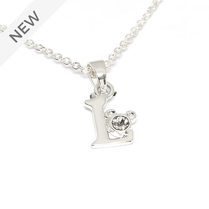Disney Store Mickey Mouse 'L' Silver-Plated Initial Necklace