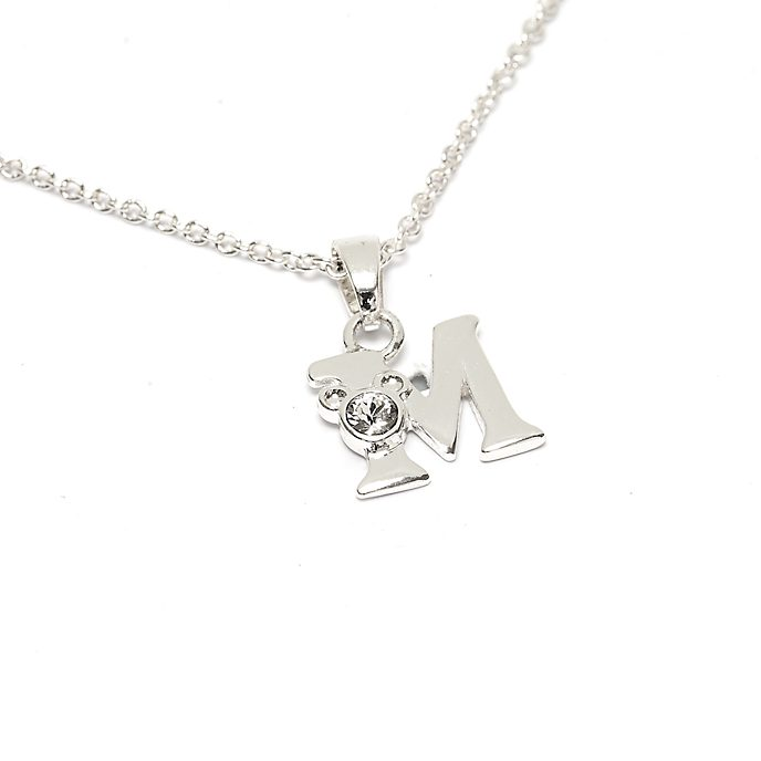 Disney Store Mickey Mouse 'M' Silver-Plated Initial Necklace