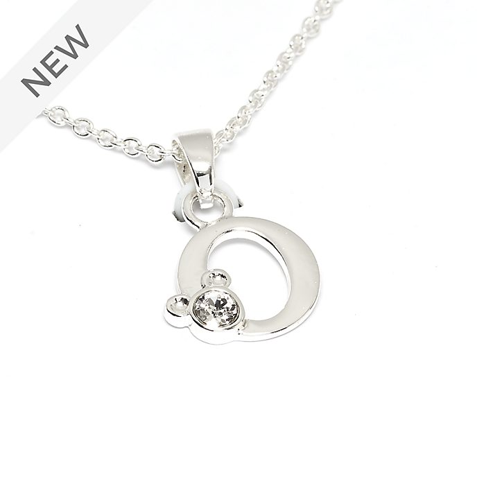Disney Store Mickey Mouse 'O' Silver-Plated Initial Necklace