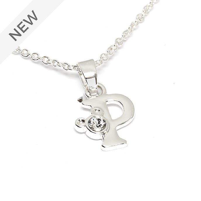 Disney Store Mickey Mouse 'P' Silver-Plated Initial Necklace