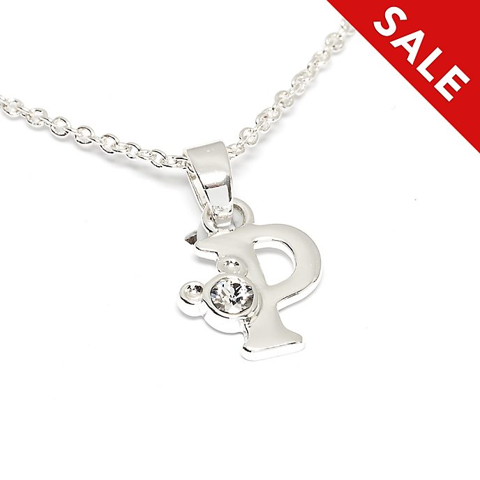 Disney Store Mickey Mouse 'P' Initial Necklace