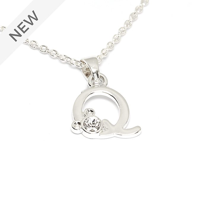 Disney Store Mickey Mouse 'Q' Silver-Plated Initial Necklace