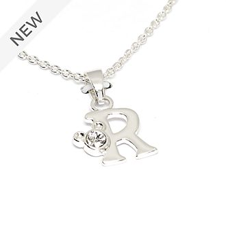 Disney Store Mickey Mouse 'R' Silver-Plated Initial Necklace