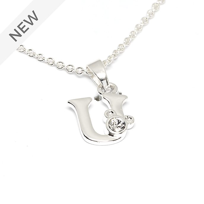 Disney Store Mickey Mouse 'U' Silver-Plated Initial Necklace