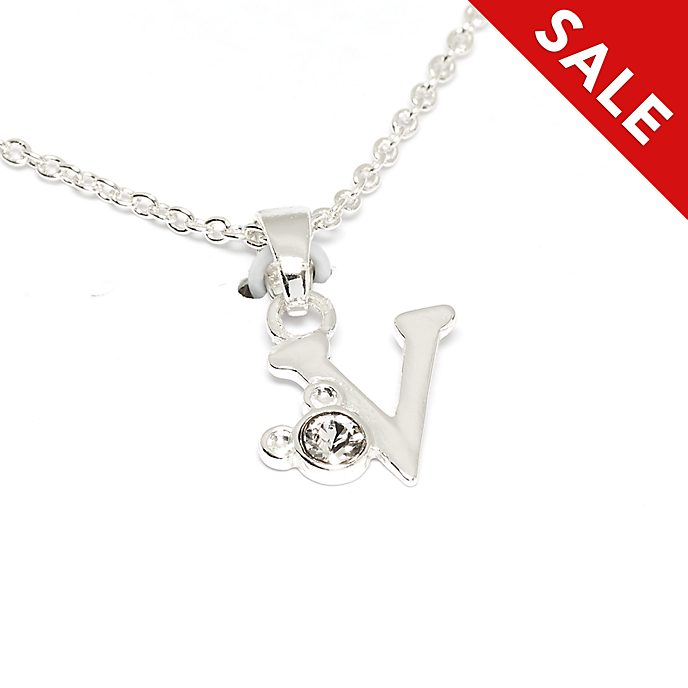 Disney Store Mickey Mouse 'V' Initial Necklace
