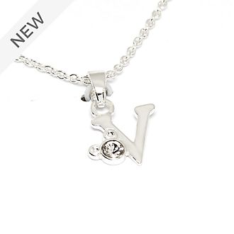 Disney Store Mickey Mouse 'V' Silver-Plated Initial Necklace