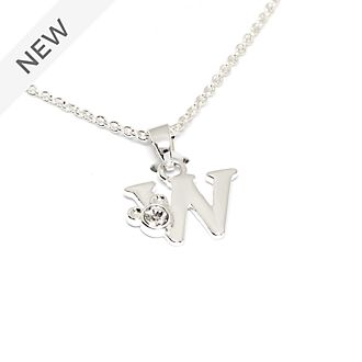 Disney Store Mickey Mouse 'W' Silver-Plated Initial Necklace