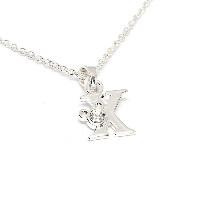 Disney Store Mickey Mouse 'X' Silver-Plated Initial Necklace