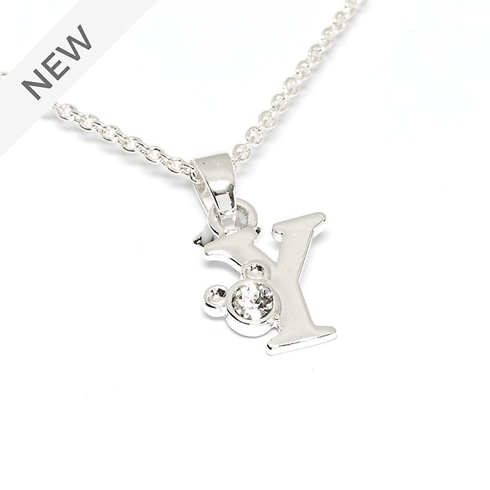 Disney Store Mickey Mouse 'Y' Silver-Plated Initial Necklace