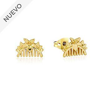 Pendientes botón peineta chapados en oro, Mulán, Couture Kingdom
