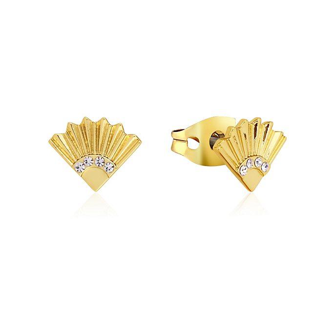 Pendientes botón abanico chapados en oro, Mulán, Couture Kingdom