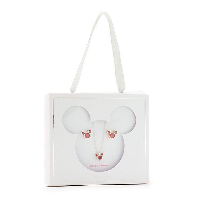 Disney Store Parure collier et clous d'oreilles Mickey, pierre porte-bonheur Janvier