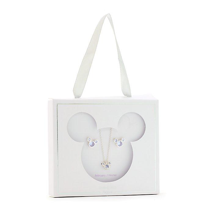 Conjunto collar y pendientes con piedra natalicia, febrero, Mickey Mouse, Disney Store