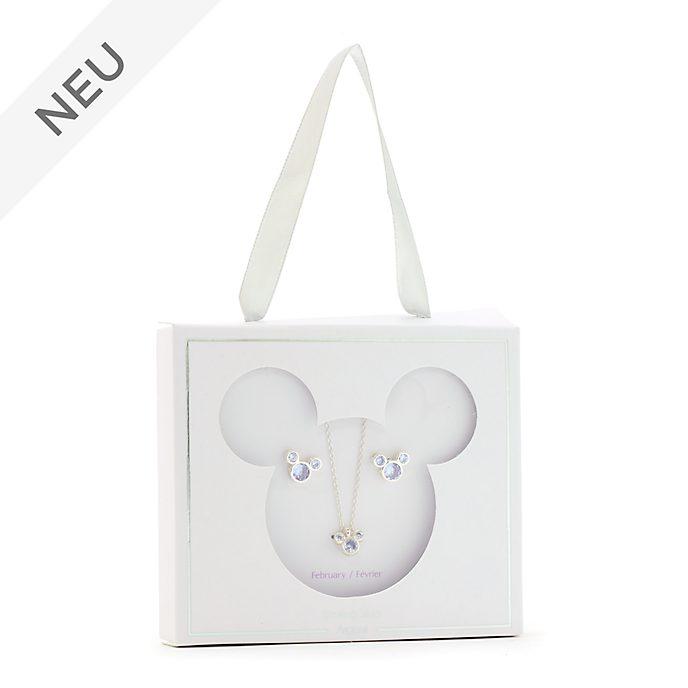 Disney Store - Micky Maus - Geburtssteinset mit Halskette und Ohrringen, Februar