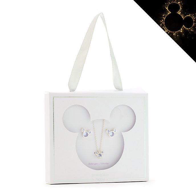 Disney Store Parure collier et clous d'oreilles Mickey, pierre porte-bonheur Février