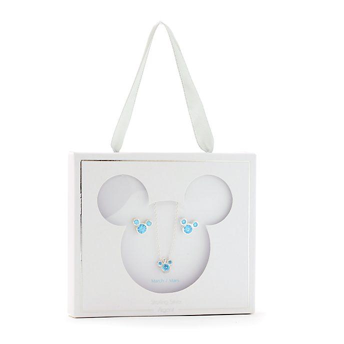 Conjunto collar y pendientes con piedra natalicia, marzo, Mickey Mouse, Disney Store