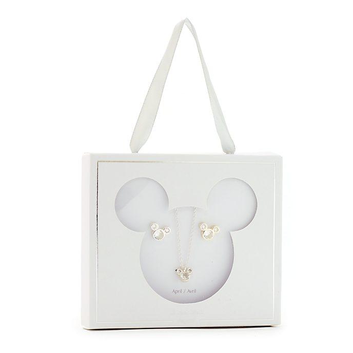 Disney Store Parure collier et clous d'oreilles Mickey, pierre porte-bonheur Avril